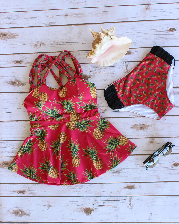 Coral Pink Pineapple Peplum Tankini